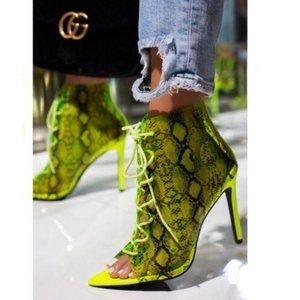 Transparent Lace Up Pep Toe Booties in Lime Snake